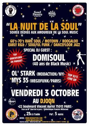 La Nuit de la Soul # - Vendredi 3 Octobre - Le Djoon