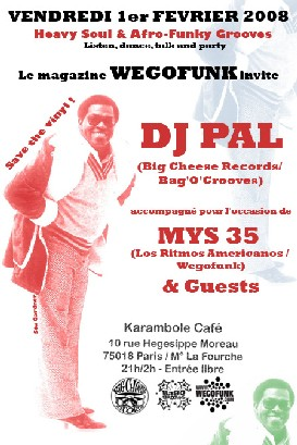 Wegofunk invite Dj Pal @ Karambole Café / 1er Février 08
