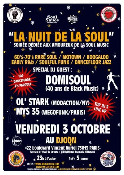 Wegofunk & Soul Sauce présentent : La nuit de la soul #3 - Vendredi 3 Octobre 2008 - Djoon (Paris)