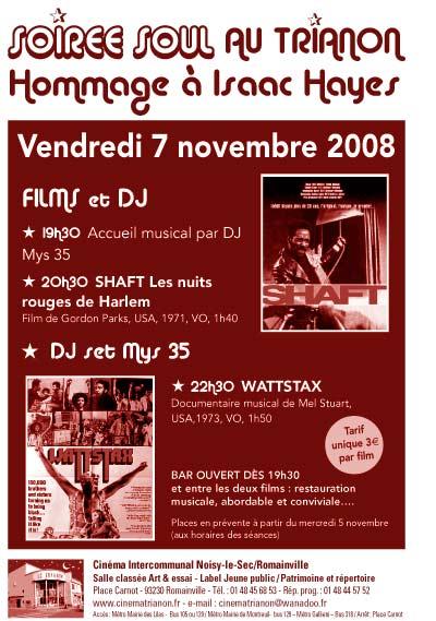 Soirée Soul au Cinéma Le Trianon : Hommage à Isaac Hayes - Vendredi 7 Novembre 2008