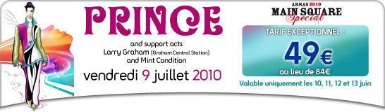 Billets à moitié prix pour le concert de Prince + Larry Graham + Mint Condition à Arras