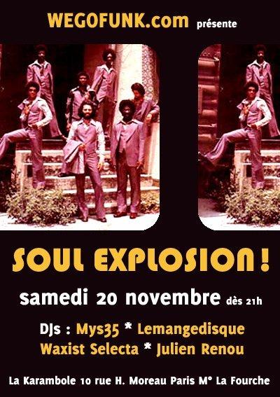 Soirée Wegofunk : Soul Explosion ! Le 20 novembre 2010 à Paris