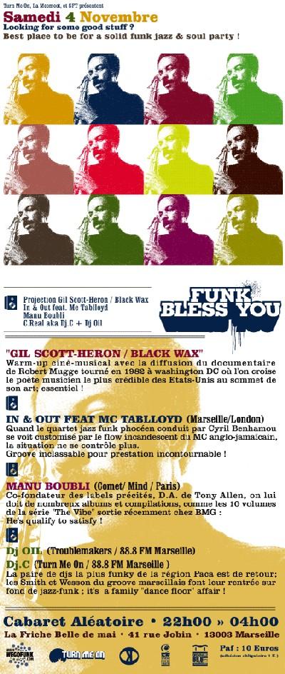 'Funk Bless You' / samedi 4 Nov / Marseille is bumpin !!! (Soirée Partenaire)