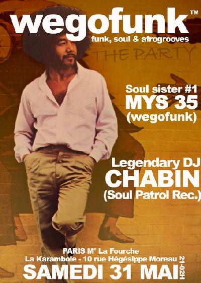 Wegofunk Party invite Dj Chabin (Soul Patrol Rec.) - Samedi 31 mai - Karambole Café