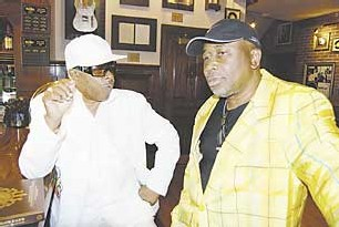 Larry Dodson (left) and James Alexander of the funk group The Bar-Kays,